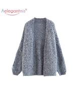 Aelegantmis Autumn Fashion Women Knitted Cardigan Sweater Female Loose L... - $75.57+