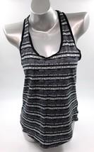 Nike Tank Top Medium Black White Striped Cotton Sleeveless Athletic Womens - $11.09