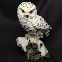 Snowy Owl Figurine Perched on Snow Capped Rock Decor Gift New GSC 54555 - $14.50