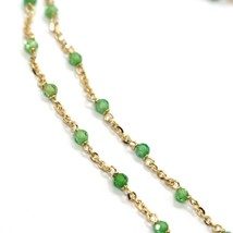 Necklace Yellow Gold 18K 750, Cubic Zircon Green, Faceted, Chain Rolo ' Oval image 2