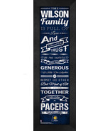"""Personalized Indiana Pacers """"Family Cheer"""" 24 x 8 Framed Print - $39.95"""