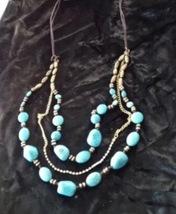 beach blue beaded necklace  - $24.99