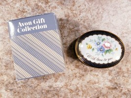 Avon Message Of Love Porcelain Box Mothers Day 1986 Blue Floral Trinket Box - $19.38
