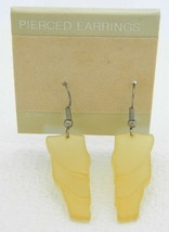 VTG 1980's Translucent Yellow Acrylic Abstract Hook Dangle Earrings - $7.92