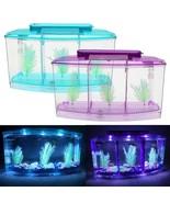 US, CN - Mini Fish Tank Aquarium Betta Box Transparent Arcylic LED Light... - $27.12