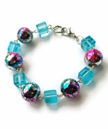 Blue and Pink Marbled Bead Links Bracelet for Ladies - $24.90