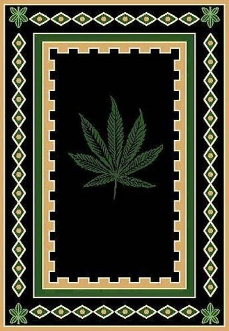 Mary Jane Pot Rug with Hemp Border 5ft. x 8ft.