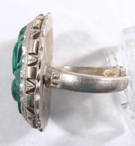 ANTIQUE CHINESE CARVED MALACHITE RING