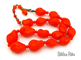 Western Germany Vintage Necklace with Orange Glass Beads in Organic Shapes - $17.00