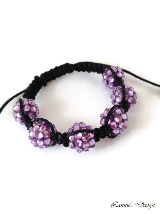 Lavender Purple Knot Rhinestone Bracelet for Kids