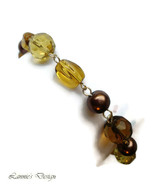 Yellow and Brown Bead Links Bracelet for Ladies - $14.90