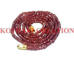 "Natural Mozambique Garnet 3-4mm Rondelle Faceted Beads 26"" Long Beaded N... - $19.16"