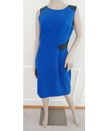 Ivanka Trump Wear to Work Sheath Faux Leather Trim Sleeveless Dress Sz 8... - $69.25