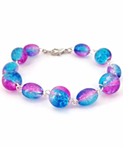 Blue and Pink Bead Links Bracelet for Ladies - $24.90