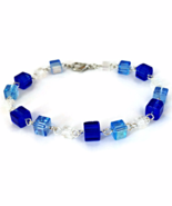 Blue Cube Bead Links Bracelet for Ladies - $14.90