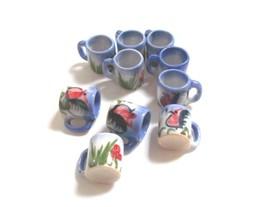 Set Cups Chicken Ceramic Handcraft Handmade Dollhouse Miniature Home Dec... - $9.49