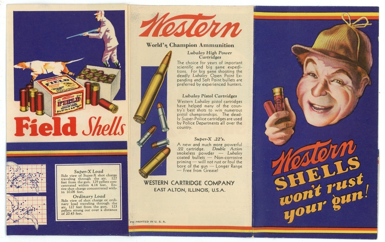 Western shells won't rust your gun vintage brochure poster 1913