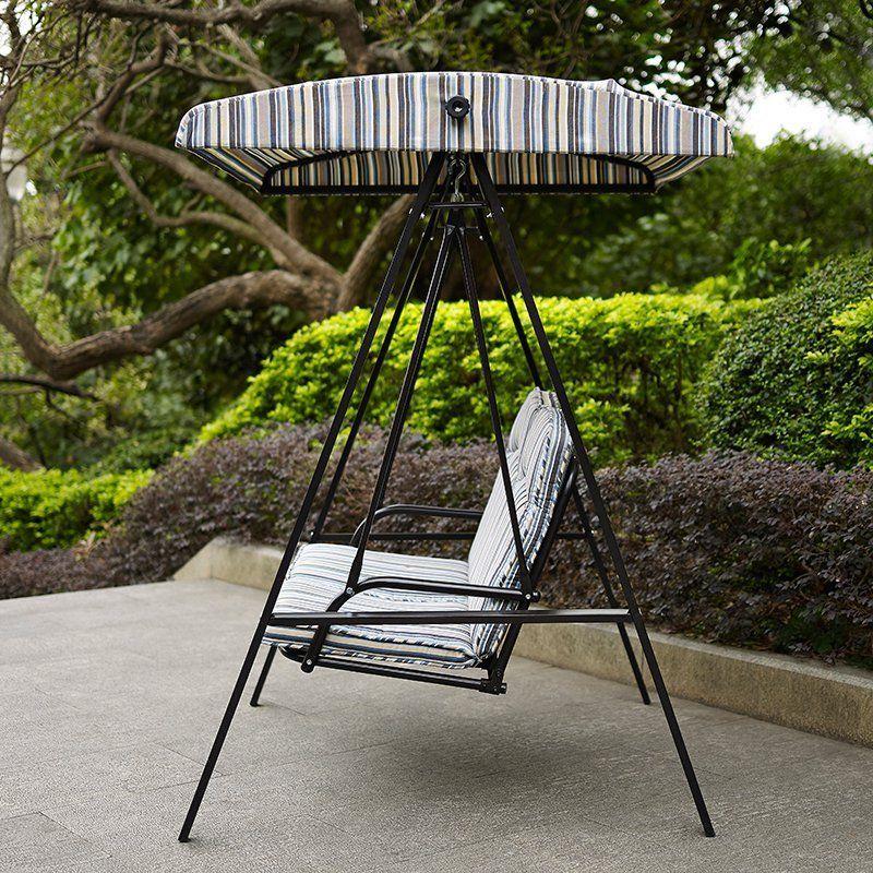 outdoor striped canopy swing patio furniture backyard pool