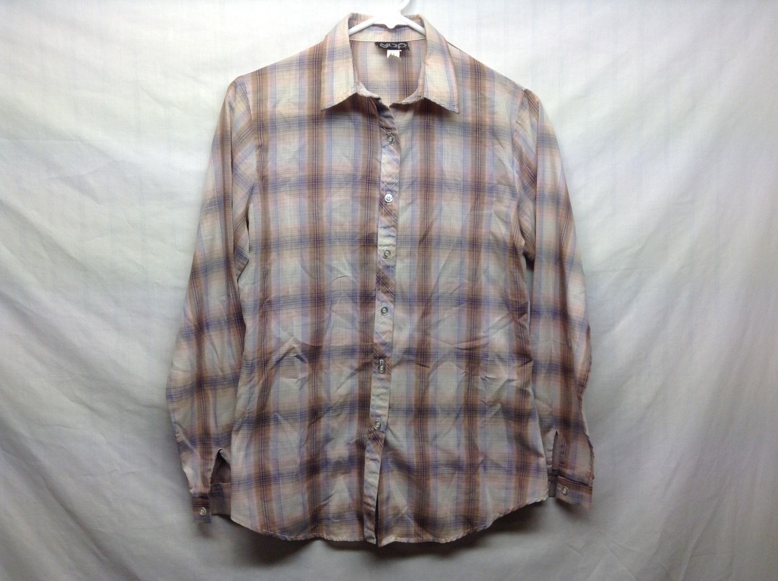 GAP Ladies Collared Plaid Multicolor Button Up Shirt