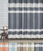 "New England Fabric Shower Curtain Diamond Weave Textured Stripes 70""x72"" - $27.49"