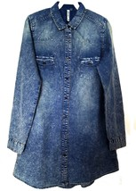 LeShop Women's Long Sleeve Button Down Acid Wash Denim Fit & Flare Dress... - $14.79+