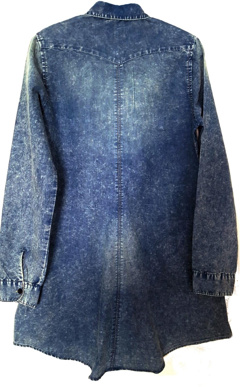 LeShop Women's Long Sleeve Button Down Acid Wash Denim Fit & Flare Dress Blouse