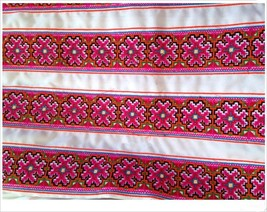 miao hmong embroidery crochet cotton fabric lac... - $7.50