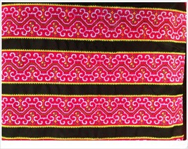 miao hmong embroidery crochet cotton fabric lac... - $9.80