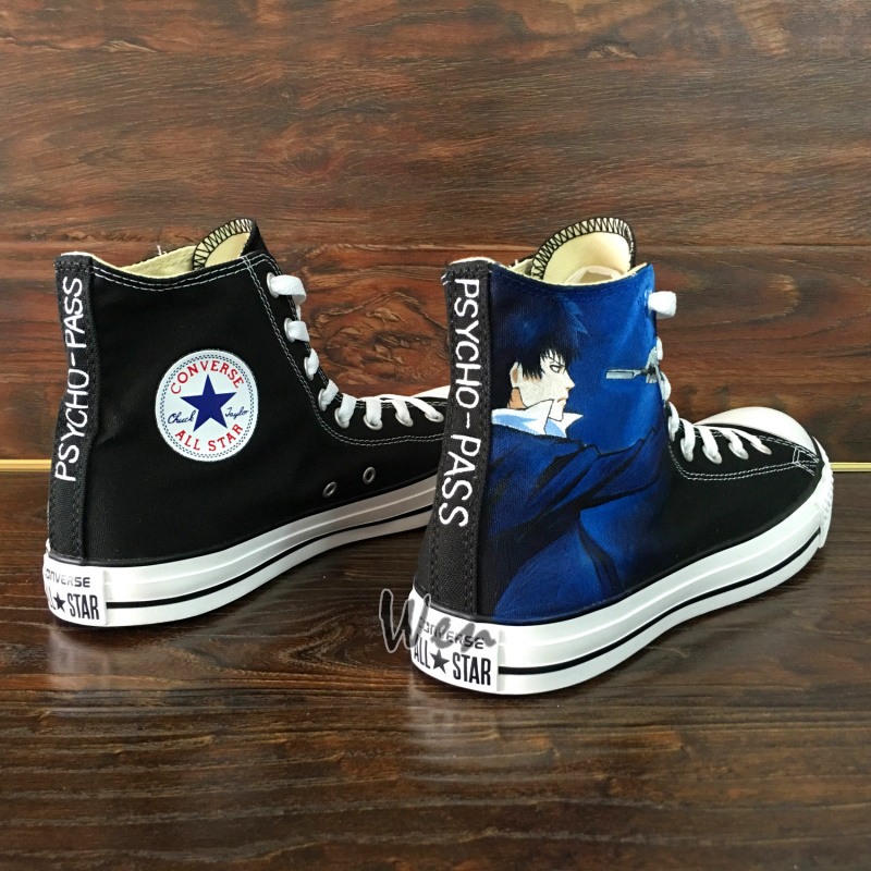 Anime Converse All Star Psycho-Pass Hand Painted Shoes Canvas Sneakers Men Women