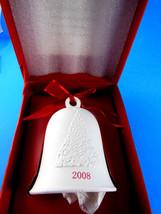 """Hallmark 2008 White Bisque Porcelain Bell w tree Mint in Original Box  3.5"""" - $8.31"""