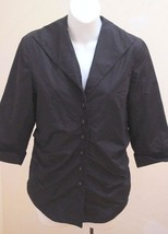 New Coldwater Creek S Shirt Jacket Black Satin 3/4 Sleeve Shawl Collar T... - $23.49