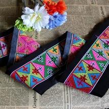 miao embroidery hand stitch cotton fabric lace 12cm DIY trim dress colla... - $8.00