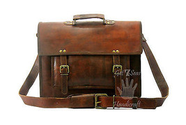 "14""Men's Genuine Vintage Brown Leather Messenger Bag Shoulder Laptop Lea... - $51.39"