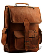 "15"" Men's Leather Vintage Backpack Shoulder Bag Messenger Bag Rucksack H... - $55.93"