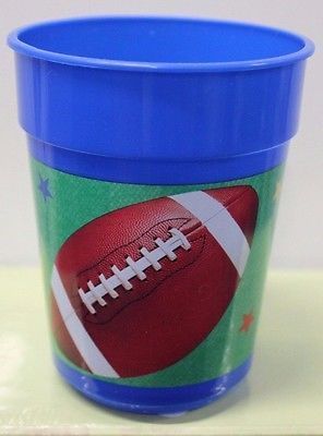 4-SET FOOTBALL PLASTIC TUMBLERS Cups Sports Kids Child Boys Blue Party Fan NEW