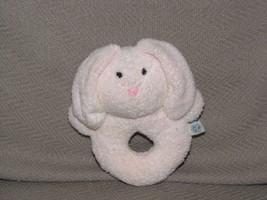 Pottery Barn Kids PBK Pink Bunny Rabbit Ring Rattle Stuffed Plush Baby Toy Lovey - $21.77