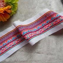 miao hand stitch crochet cotton fabric lace trim 12cm dress collar ribbo... - $8.00