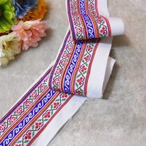 miao hand stitch crochet cotton fabric lace tri... - $8.00