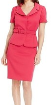 Tahari ASL New Pink Textured Notch Collar Belted Skirt Suit   14     $280 - $99.99