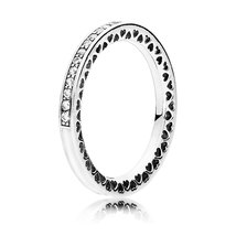925 Sterling Silver Radiant Hearts with Silver Enamel & Clear CZ Ring QJCB1018 - $21.66