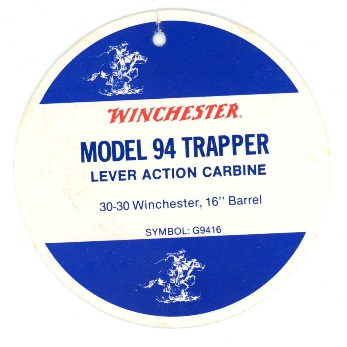 Winchester model 94 Trapper factory rifle hang tag original firearms