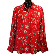 Red Winter Blouse Eddie Bauer Womens Size M Skis Hat Boots Sock Long Sleeve f606 - $33.99
