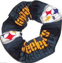 Pittsburgh Steelers Black Glow Fabric Hair Scrunchie Scrunchies by Sherry  - $6.99
