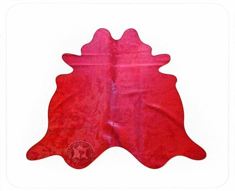 Solid Dyed Stop Sign Red Natural Brazilian Cowhide Rug