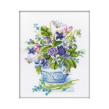Set for embroidery RTO company cross Bouquet in purple tones. M279 size 22/27 cm - $10.00