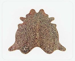 Giraffe Cowhide Medium Print Chestnut on Beige - $299.00