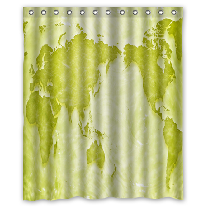 World Map #12 Shower Curtain Waterproof Made From Polyester