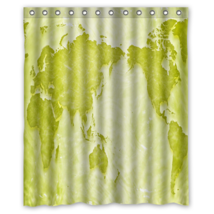 World Map #12 Shower Curtain Waterproof Made From Polyester - $31.26+