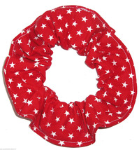 Red with White Stars Fabric Hair Scrunchie Scrunchies by Sherry Ponytail  - $6.99