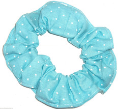 Blue Tiny White Polka Dots Fabric Hair Scrunchie Scrunchies by Sherry  - $6.99